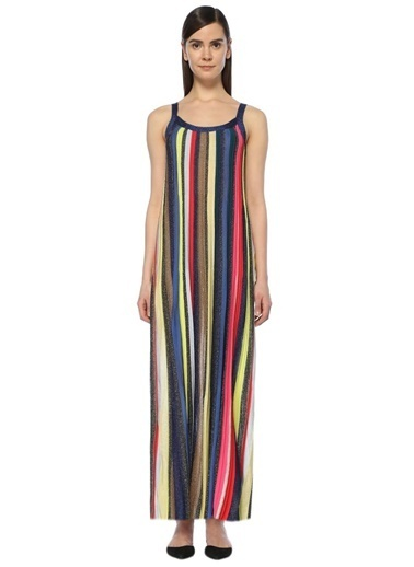 Askılı Çizgili Uzun Elbise-Academia